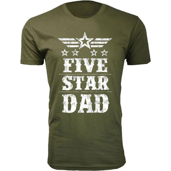Men's Five Star Father's Day T-shirts-Dad - Military Green-S-Daily Steals
