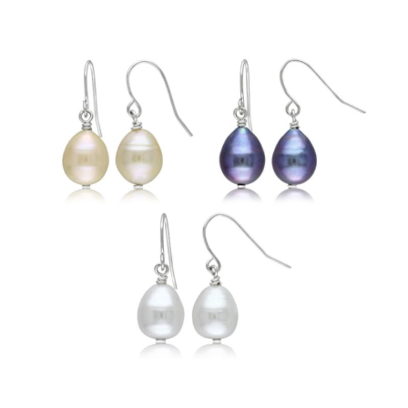 Women's Freshwater 9-10mm Cultured Pearl 3 Piece Earrings Set with Silvertone Findings