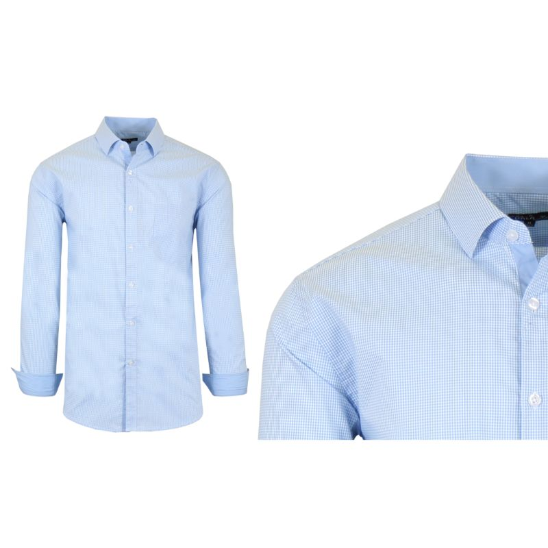 Mens Quick Dry Performance Stretch Dress Shirts-Blue/White-Medium-Daily Steals