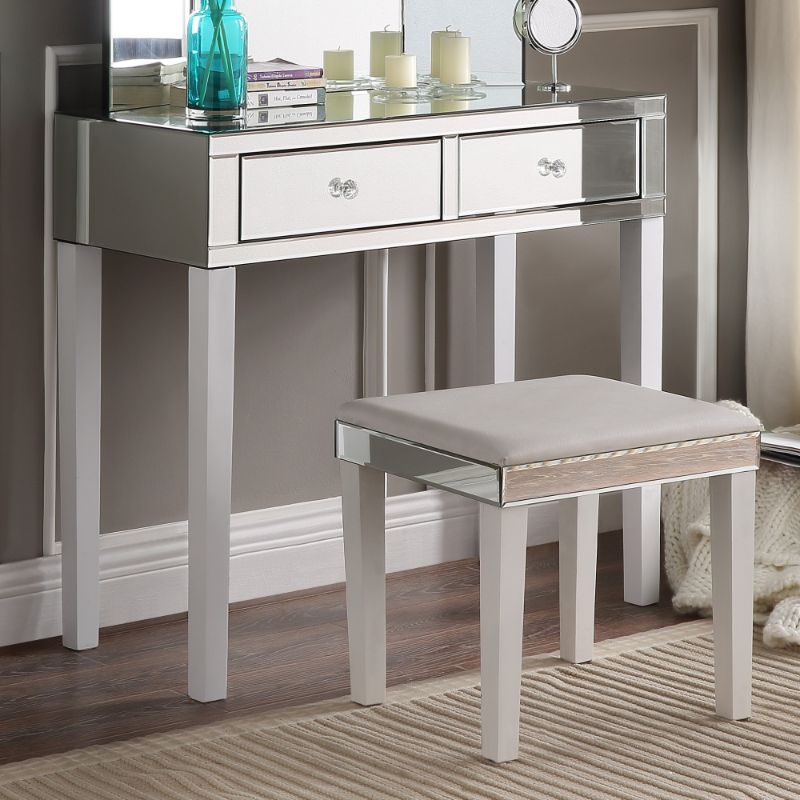 Milano Modern Contemporary Mirrored 2-Drawer Vanity Table with Stool Set-Daily Steals