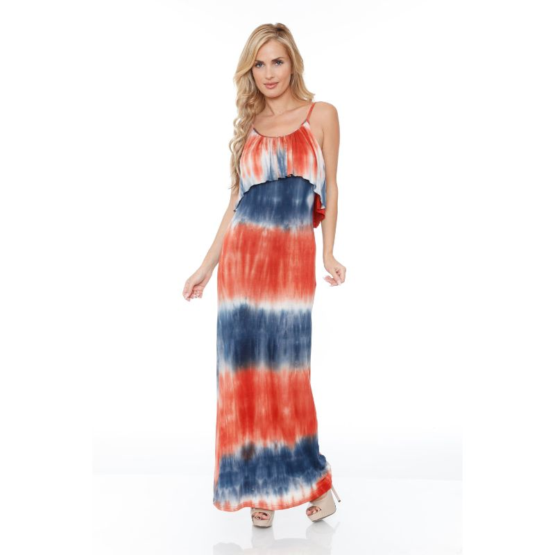WhiteMark 'Kalea' Tie Dye Overlay Maxi Dress-Orange/Navy-S-Daily Steals