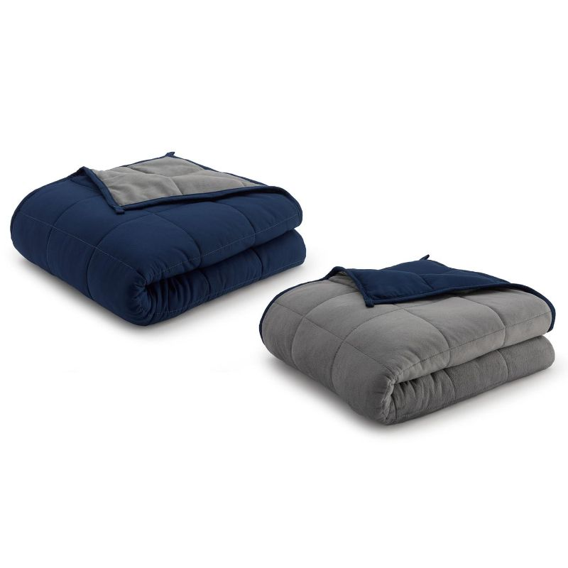 Ella Jayne Reversible Anti-Anxiety Weighted Microfiber Blanket-Grey/Navy-20 lbs-Daily Steals