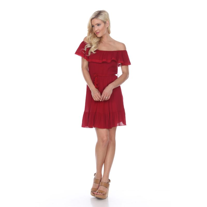 Smocked Off-The-Shoulder Dress-Red-L-Daily Steals