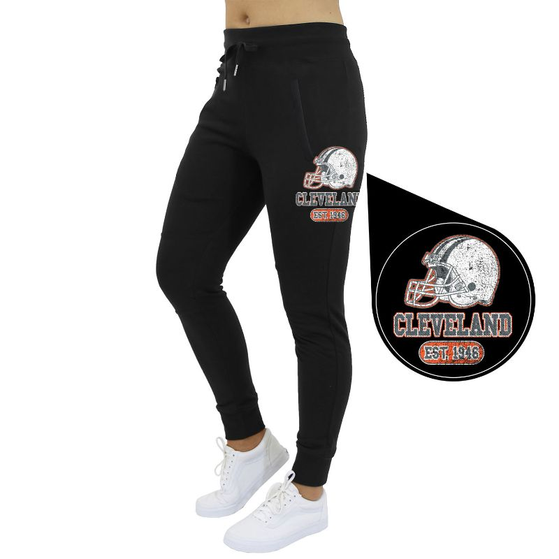 Women's Home Team Football Jogger Sweatpants-Cleveland - Black-S-Daily Steals