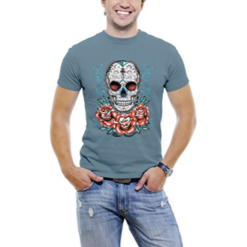 Skull Roses Tattoo - Men's T-Shirt-Slate Blue-3XL-Daily Steals