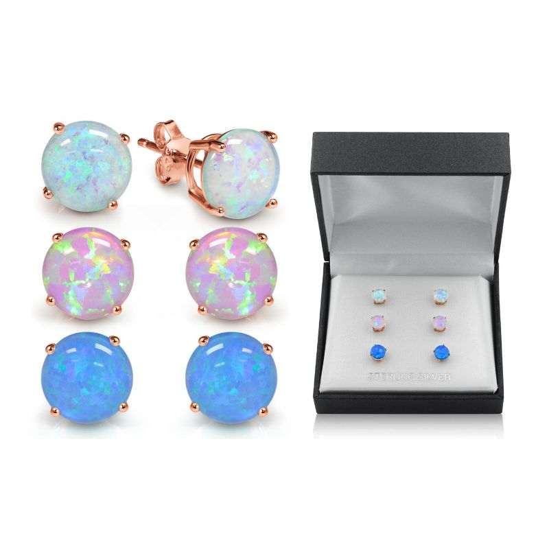 18K Rose Gold Plate Over Silver Blue, White, and Pink Opal Earring Set - 3 Pairs-Daily Steals