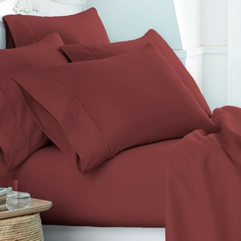 Microfiber Merit Linens Bed Sheets Sets - 6 Piece-Burgundy-Twin-Daily Steals