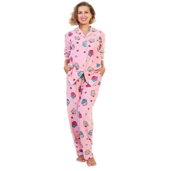 Angelina Women's Cozy Fleece Pajama Set-Cupcakes With Pockets on the Pants-Small-Daily Steals