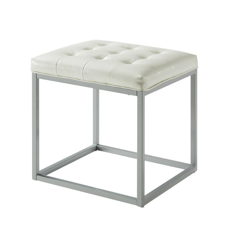 Logan PU Leather Cube Ottoman-Cream white-Daily Steals