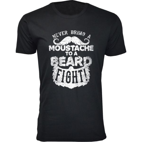 Men's 'Greatest Beard' T-shirts-S-Moustache to a Beard Fight - Black-Daily Steals
