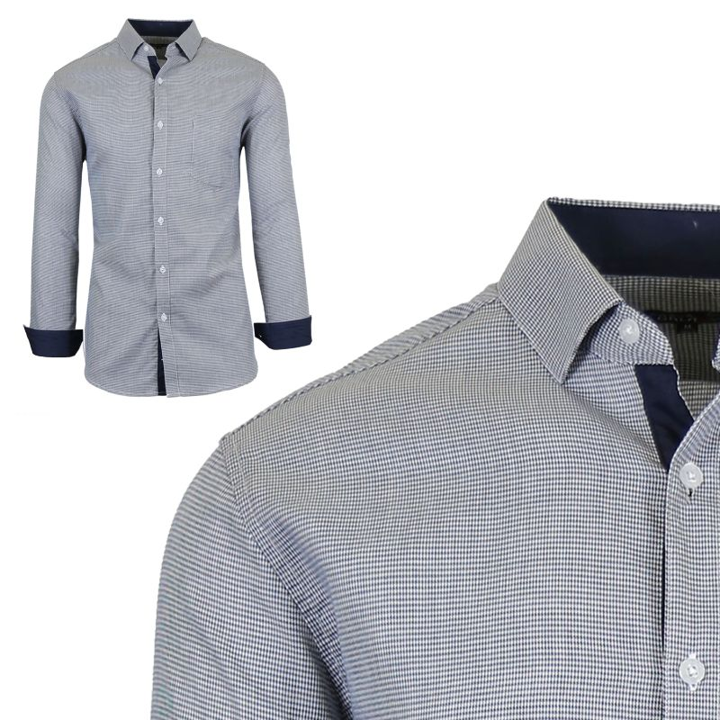 Mens Long Sleeve Slim-Fit Cotton Dress Shirts W/ Chest Pocket-Black/White-Small-Daily Steals