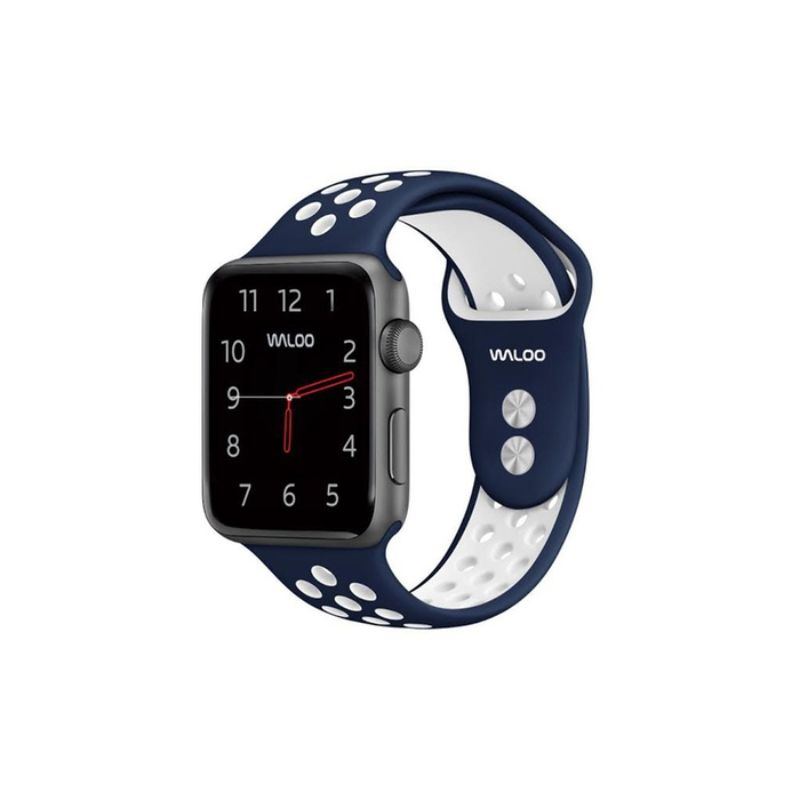 Waloo Breathable Sports Band For Apple Watch Series 1-5-Navy/White-38/40mm-Daily Steals