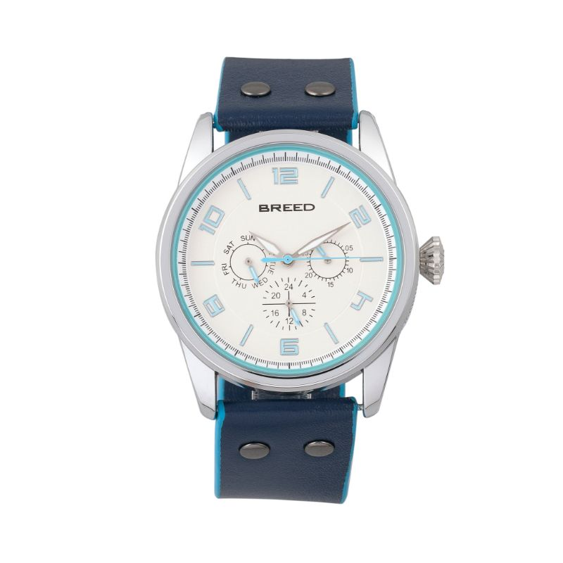 Breed Rio Leather-Band Watch w/Day/Date-Silver/Blue-Daily Steals