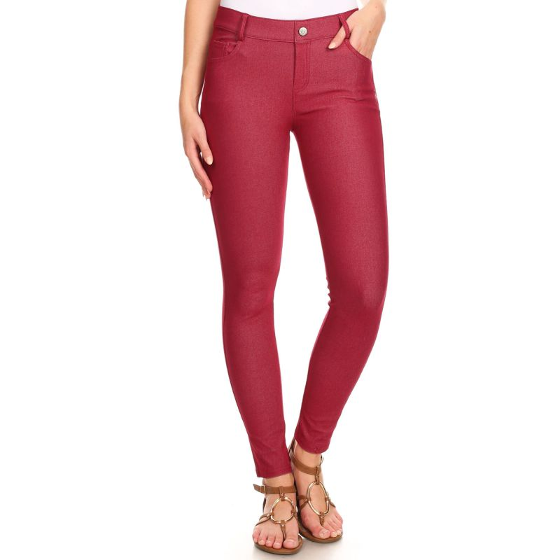 Women's Cotton Blend Full Length Jeggings-Burgundy-Large-Daily Steals