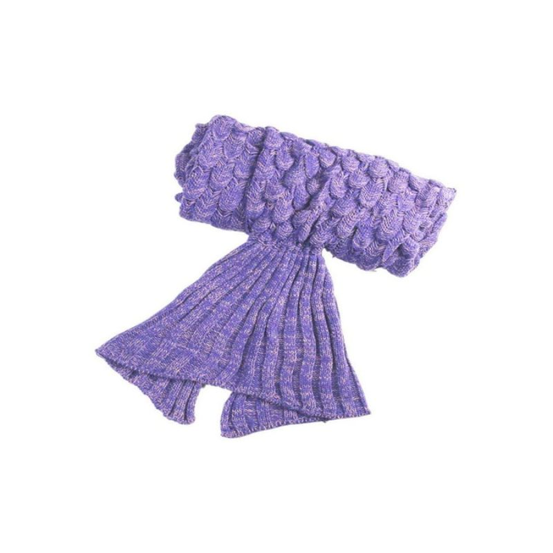 Mermaid Tail Knit Crochet Warm & Soft Blanket for Kids and Adults-Adults-Purple/Light Pink-Daily Steals