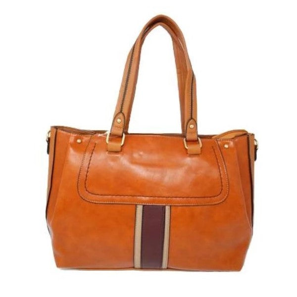 Vintage Striped Leather Tote Handbag-Camel-Daily Steals
