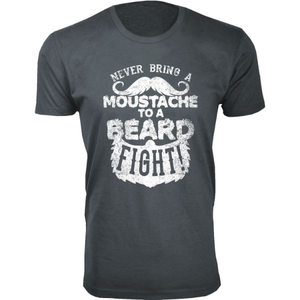 Men's 'Greatest Beard' T-shirts-L-Moustache to a Beard Fight - Charcoal-Daily Steals