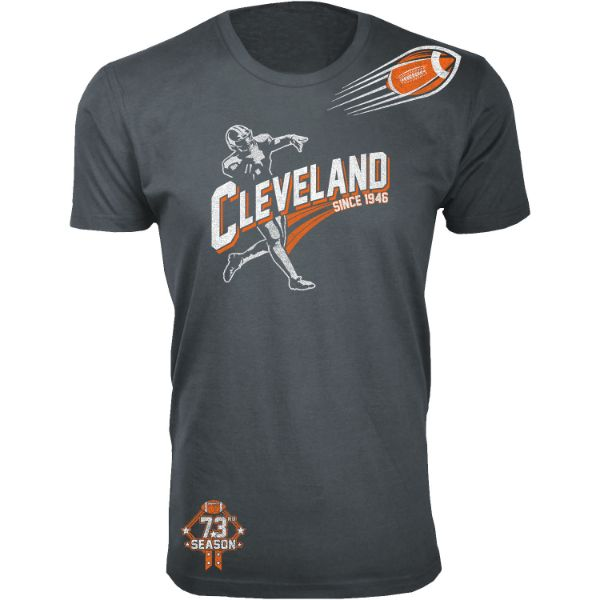Men's Football Season T-Shirts-Cleveland - Charcoal-S-Daily Steals