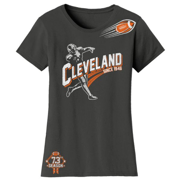 Women's Football Season T-Shirts-Cleveland - Charcoal-S-Daily Steals