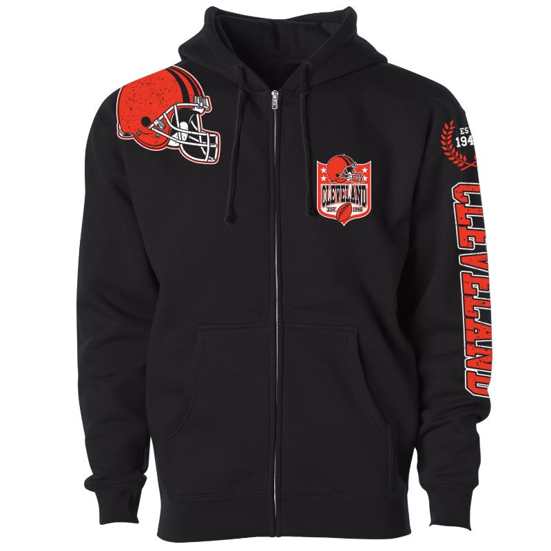 Women's Football Home Team Zip Up Hoodie-L-Cleveland-Daily Steals