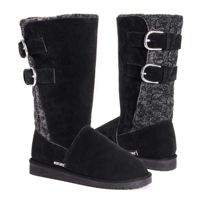 MUK LUKS Women's Jean Boots-Ebony/Grey-6-Daily Steals