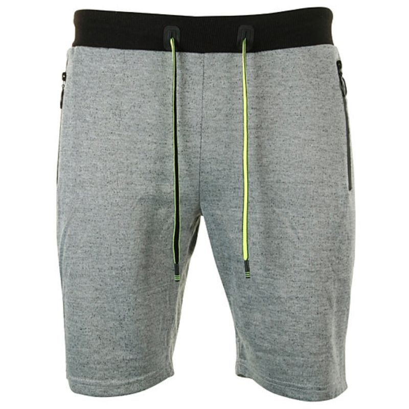 Men's Marled French Terry Shorts With Drawstring & Zippered Pockets-Grey-Small-Daily Steals