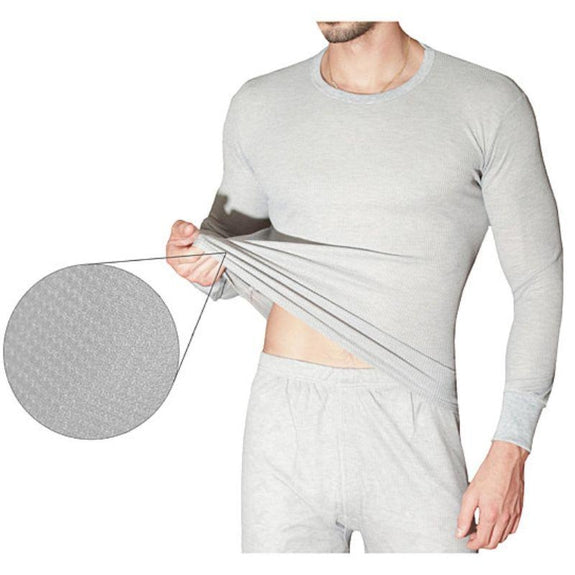 2-Piece Men's Super Soft 100% Cotton Waffle Knit Thermal Underwear Set-Grey-Small-Daily Steals