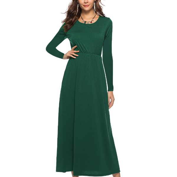 Long Sleeve Solid Maxi Dress-Green-2X-Daily Steals