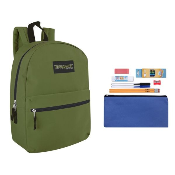 "Trailmaker Classic 17"" Backpack + 12 Piece School Supply Kit-Green-Daily Steals"