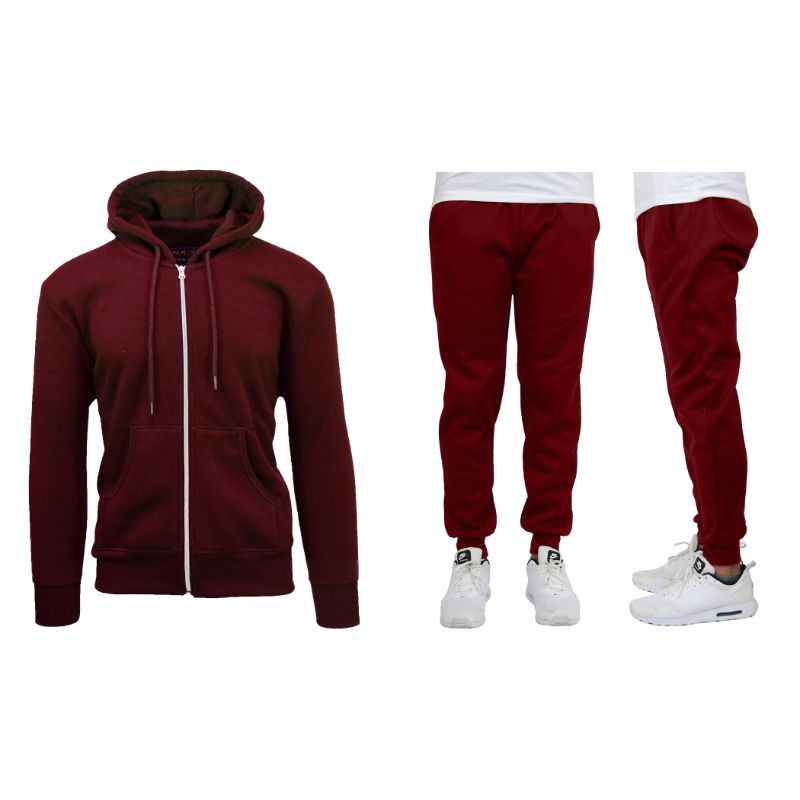 Men's Heavyweight Fleece Jogger and Heavyweight Fleece Hoodie Set-Burgundy-2XL-Daily Steals
