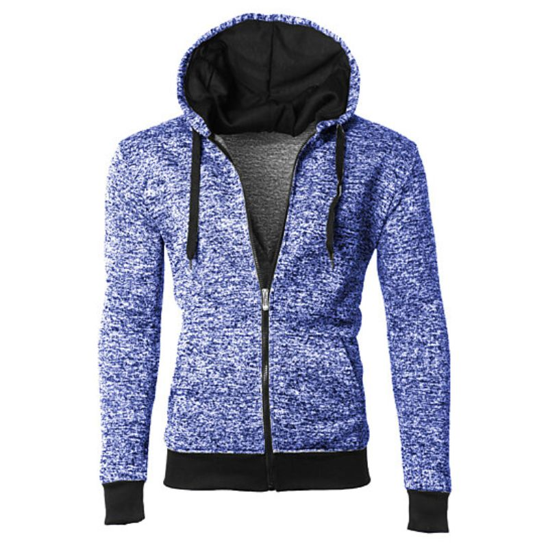 Men's Moisture Wicking Fleece-Lined Full-Zip Up Marled Hoodie-Navy-Small-Daily Steals