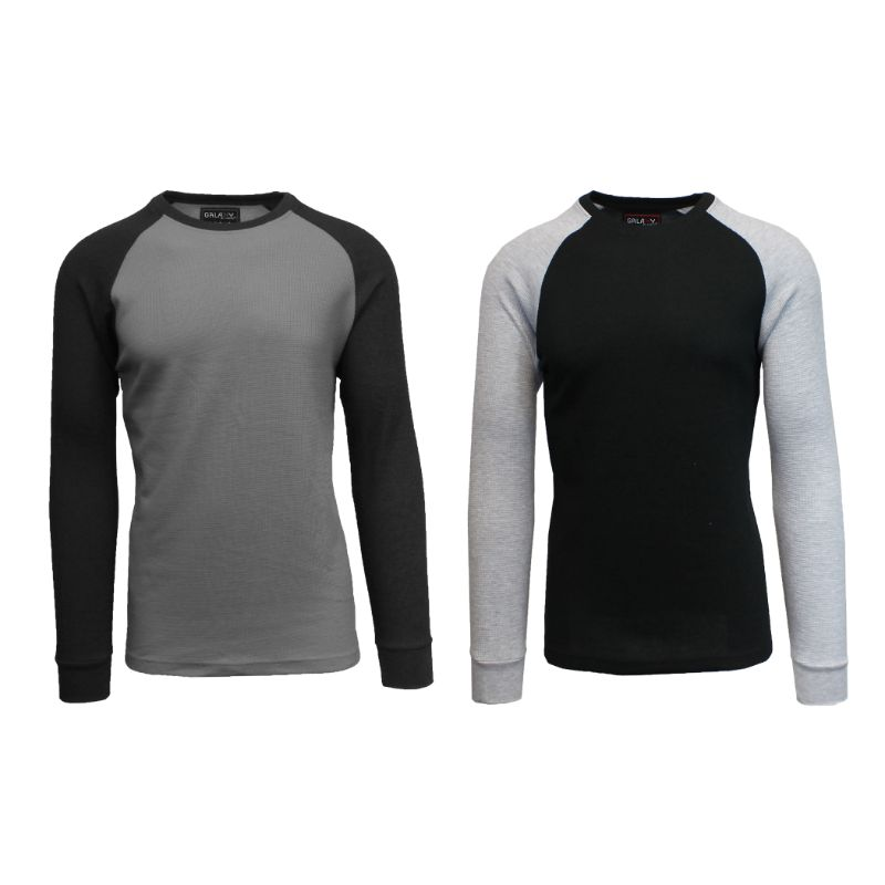 Men's Raglan Thermal Shirt - 2 Pack-Charcoal/Black & Black/Heather Grey-Small-Daily Steals