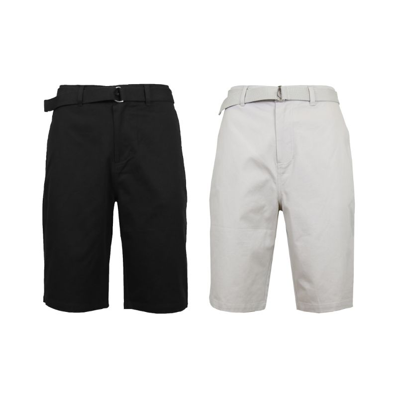Men's Cotton Chino Shorts with Belt - 2 Pack-Black & Sand-36-Daily Steals