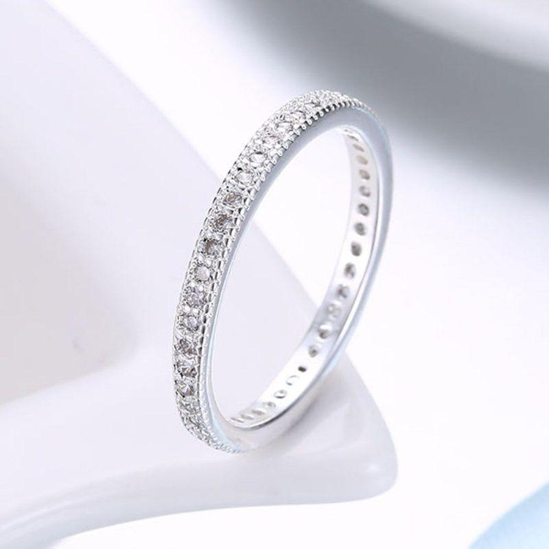 3mm Eternity Bang Ring embellished With Crystals In 18k White Gold Filled-Daily Steals