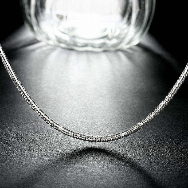 "3mm Snake Chain in 18K White Gold Filled-16""-"
