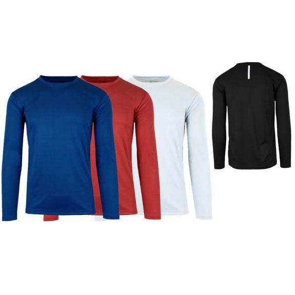 Men's Long Sleeve Moisture-Wicking Performance Crew Neck Tee - 3 Pack-Navy & Red & White-Small-Daily Steals
