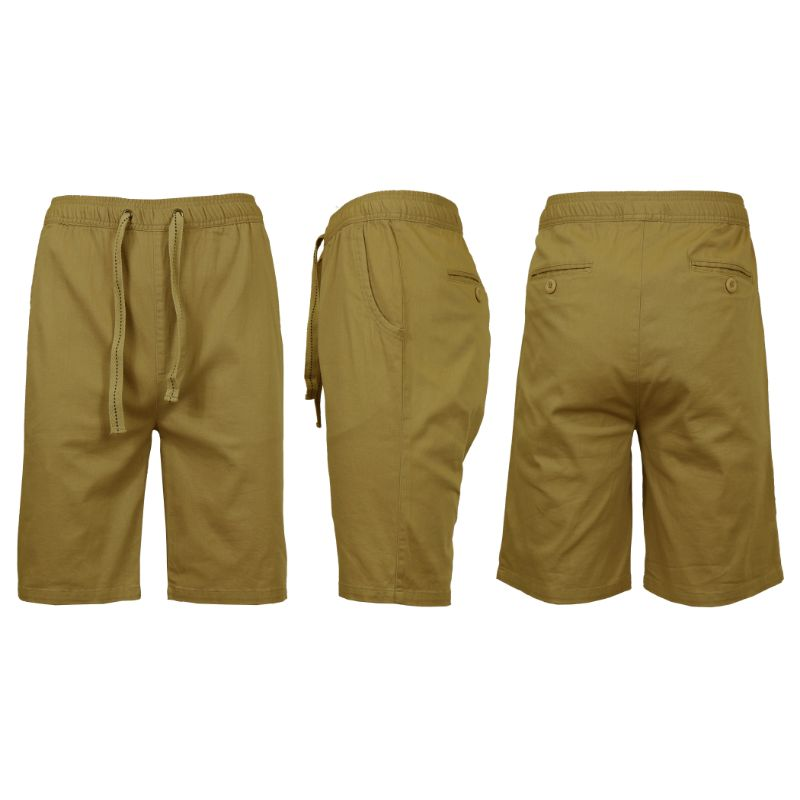 Men's Cotton Stretch Twill Jogger Shorts-Timber-M-Daily Steals