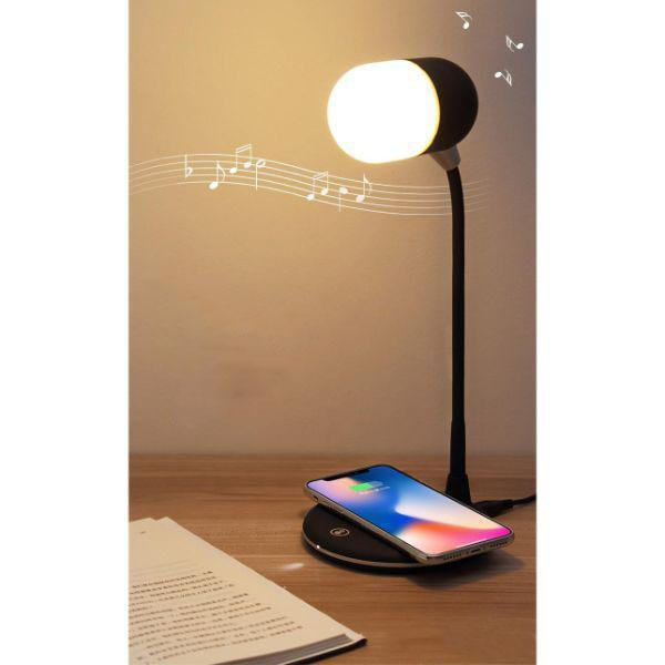 3N1 Bluetooth Speaker + LED Table Lamp + Wireless Charging Pad-Daily Steals