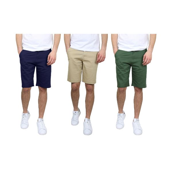 Men's 5-Pocket Flat-Front Stretch Chino Shorts - 3 Pack-Navy & Khaki & Olive-36-Daily Steals