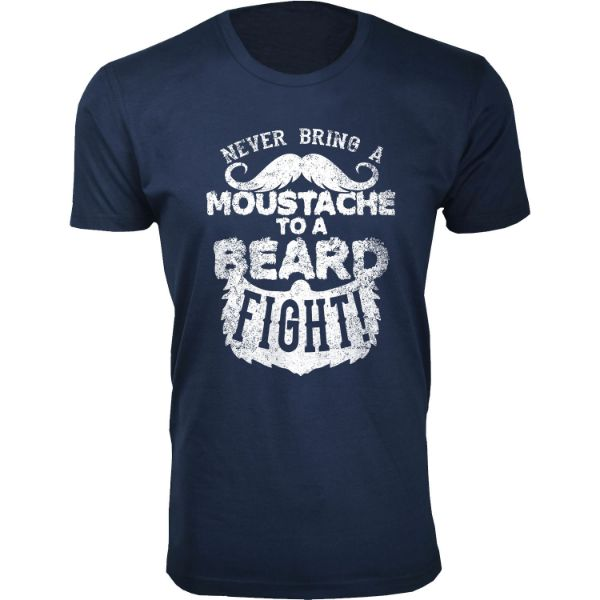 Men's 'Greatest Beard' T-shirts-S-Moustache to a Beard Fight - Navy-Daily Steals