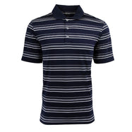 adidas Men's Puremotion Textured Stripe Polo-Navy/White-S-Daily Steals