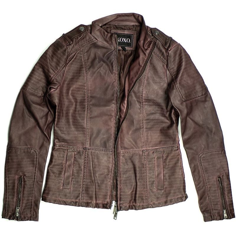 Women's Motorcycle Faux Leather Jacket Quilted Lining Zip Up-Red-L-Daily Steals