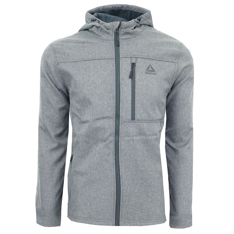 Reebok Men's Hooded Softshell Jacket-Grey Heather-XL-Daily Steals