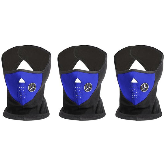 [3-Pack] Unisex Fleece Winter Cold-Weather Mask-3 Blue-Daily Steals