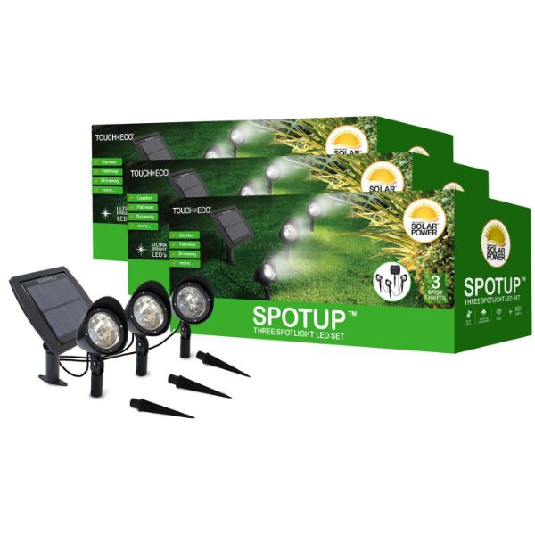 Touch Of ECO 3-in-1 Solar-Powered Spotlight Set - 1, 2, or 3 Pack-3 Set-Daily Steals