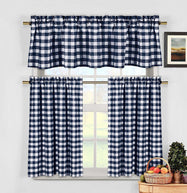 Gingham Checkered Cotton Curtains with 1 Valance and 2 Tier Panels - 3 Piece Set-Blue-Daily Steals