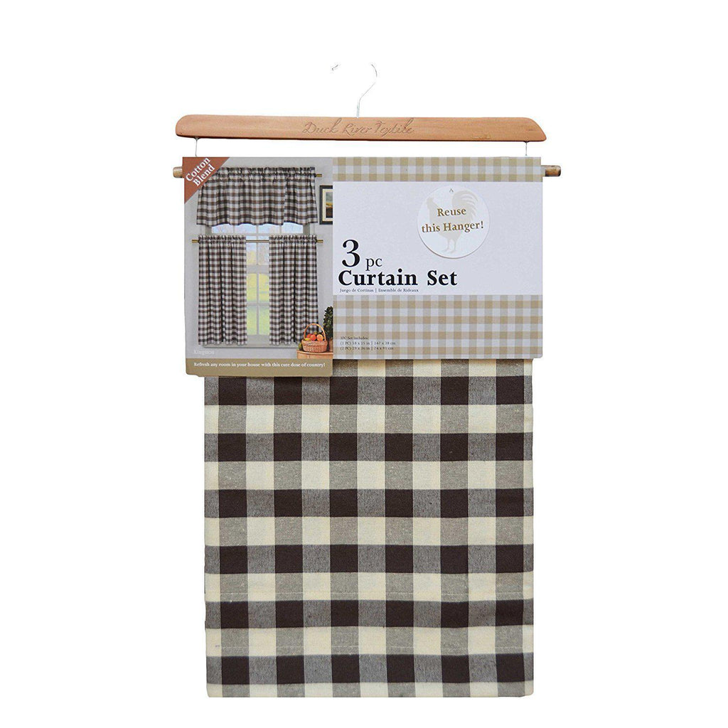 Gingham Checkered Cotton Curtains with 1 Valance and 2 Tier Panels - 3 Piece Set-Brown-Daily Steals
