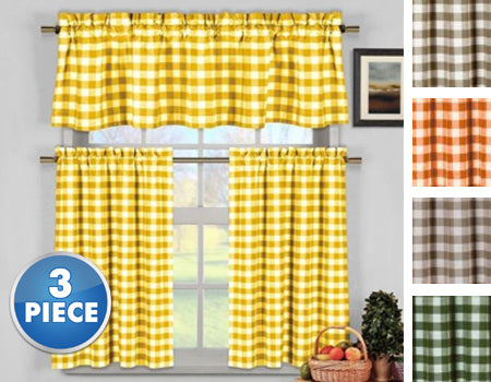 Gingham Checkered Cotton Curtains with 1 Valance and 2 Tier Panels - 3 Piece Set