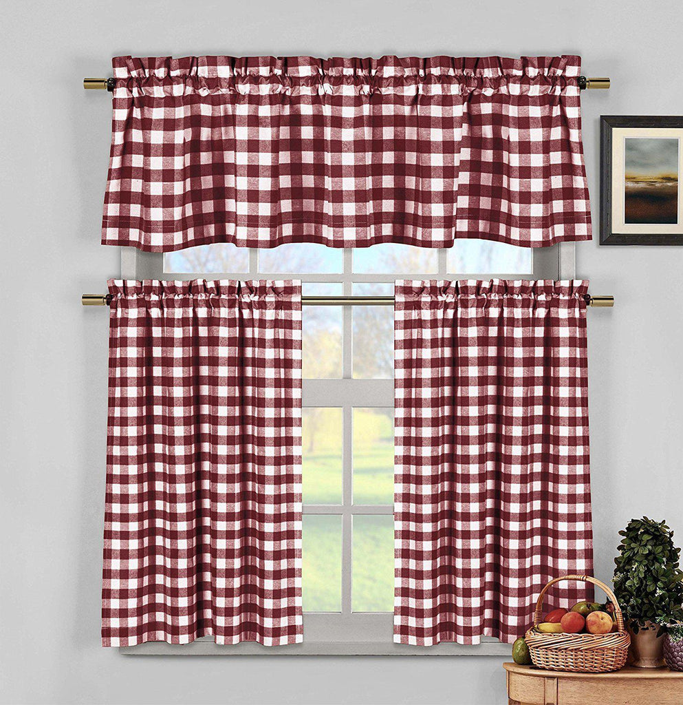 Gingham Checkered Cotton Curtains with 1 Valance and 2 Tier Panels - 3 Piece Set-Red-Daily Steals