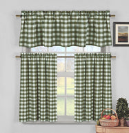 Gingham Checkered Cotton Curtains with 1 Valance and 2 Tier Panels - 3 Piece Set-Sage-Daily Steals